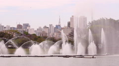 Beautiful park. Fountains In Ibirapuera Park, Sao Paulo, Brazil - stock footage