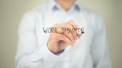 Work Smarter, Man Writing on Transparent Screen Stock Footage