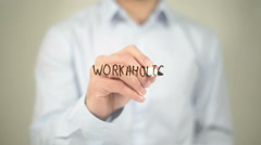 Workaholic, Man Writing on Transparent Screen Stock Footage
