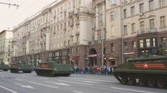 Military machinery driving through Moscow streets Stock Footage