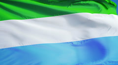 Sierra Leone flag in slow motion seamlessly looped with alpha Stock Footage