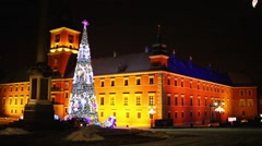 Christmas tree near Castle Square, Warsaw, Poland Stock Footage