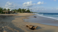 Tangalle beach with a tree trunk Stock Footage