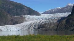 Mendenhall Glacier Tilt Down Wide Panorama Shot, Juneau Alaska 4k Stock Footage