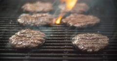 Hamburger Cooking on the Grill Stock Footage