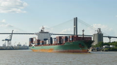 4K Container Ship On Savannah River Stock Footage