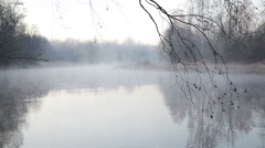 Early morning on the foggy river in the spring in Northern Europe - stock footage