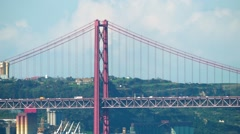 25 de Abril Bridge in Lisbon, capital of Portugal Stock Footage