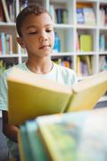 Little boy reading a book - stock photo