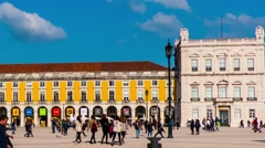 Praca do Comercio in city of Lisbon, Portugal - stock footage