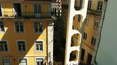 Santa Justa Lift in city of Lisbon, Portugal Stock Footage