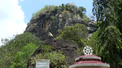 Mountain with the Mulkirigala Raja Maha Vihara Stock Footage
