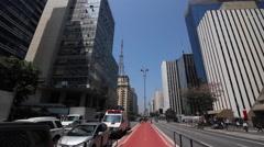 Paulista Avenue, Sao Paulo, Brazil. Bicycle path. Traffic, city, view - stock footage