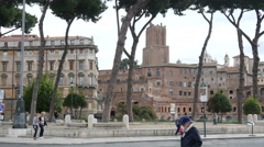 Beautiful architecture of ancient Rome - city center touristic place - stock footage