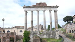 Forum ruins ancient columns, the remains of antique buildings in Rome - stock footage