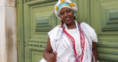 Brazilian woman wearing traditional clothes from Bahia, Brazil Stock Footage
