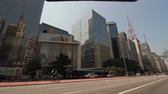 Paulista Avenue, Sao Paulo, Brazil. Bicycle path. Traffic, city, view, bicycle - stock footage
