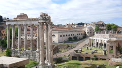 Forum ruins ancient columns, the remains of antique buildings in Rome Stock Footage