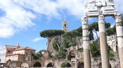 Ruins ancient columns, the remains of antique buildings in Rome - stock footage