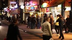 Amsterdam street at night Stock Footage