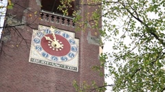clock tower of the commodity exchange Beurs van Berlage in amsterdam - stock footage
