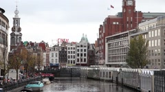 Amsterdam canal in a cloudy day Stock Footage
