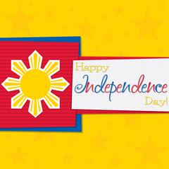 Funky Philippine Independence Day card in vector format. - stock illustration