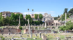 Ruins ancient columns, the remains of antique buildings in Rome Stock Footage