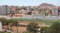 Football field in the city Praia in Cape Verde Stock Footage