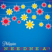 String Philippine Independence Day card in vector format. - stock illustration
