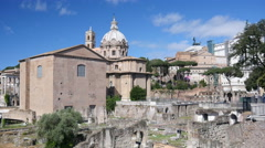 Ruins of ancient antique Rome Empire architecture and beautiful buildings Stock Footage