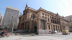 Municipal Theatre Of Sao Paulo, Brazil. One Of The Landmarks Of The City. Cross. Stock Footage