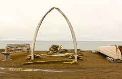 Whaling Monument in a Native Whaling Village Stock Photos