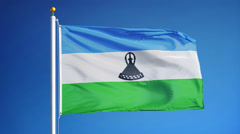 Lesotho  flag in slow motion seamlessly looped with alpha Stock Footage