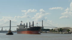 4K Bulk Carrier Ship and Tugboat On Savannah River - stock footage