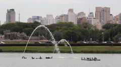 Beautiful park. Fountains In Ibirapuera Park, Sao Paulo, Brazil Stock Footage