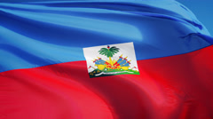 Haiti  flag in slow motion seamlessly looped with alpha - stock footage