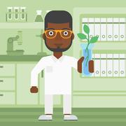 Laboratory assistant with test tube - stock illustration