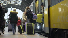 Slowmotion video of people coming out from modern train, traveling, tourism Stock Footage