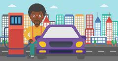 Man filling up fuel into car Stock Illustration