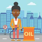 Woman with oil can and filling nozzle - stock illustration