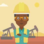 Confident oil worker - stock illustration