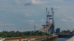 Timelapse of Savannah Talmadge Memorial Bridge Stock Footage