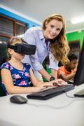 Child using 3D glasses - stock photo