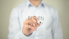 Return Policy, Man Writing on Transparent Screen - stock footage