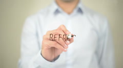 Refresh, Man Writing on Transparent Screen - stock footage