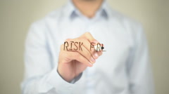 Risk Free, Man Writing on Transparent Screen Stock Footage