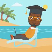 Graduate lying on chaise lounge with laptop Stock Illustration