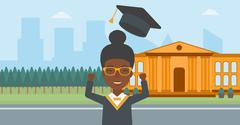 Graduate throwing up his hat Stock Illustration