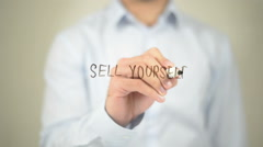 Sell Yourself, Man Writing on Transparent Screen Stock Footage